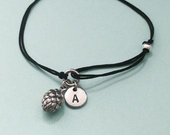 Artichoke cord bracelet, artichoke charm bracelet, adjustable bracelet, charm bracelet, personalized bracelet, initial, monogram