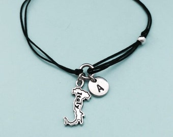 Italy cord bracelet, Italy charm bracelet, adjustable bracelet, charm bracelet, personalized bracelet, initial, monogram