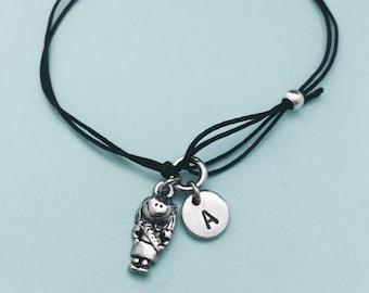 Scout cord bracelet, Scout charm bracelet, adjustable bracelet, charm bracelet, personalized bracelet, initial, monogram