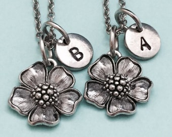 Best friend necklace, flower necklace, plant necklace, bff necklace, sister, friendship jewelry, personalized necklace, initial, monogram