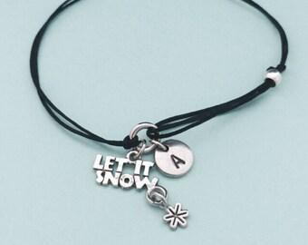 Let it snow cord bracelet, let it snow charm bracelet, adjustable bracelet, charm bracelet, personalized bracelet, initial, monogram