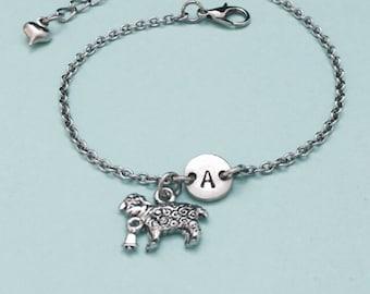 Sheep cord bracelet personalized bracelet charm bracelet monogram sheep charm bracelet initial adjustable bracelet