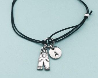 Overalls cord bracelet, overalls charm bracelet, adjustable bracelet, charm bracelet, personalized bracelet, initial, monogram