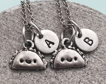 Best friend necklace, taco necklace, food necklace, bff necklace, sister, friendship jewelry, personalized, initial, monogram