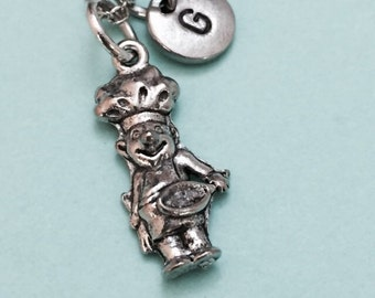 Chef man necklace, chef man charm, cooking necklace, personalized necklace, initial necklace, initial charm, monogram