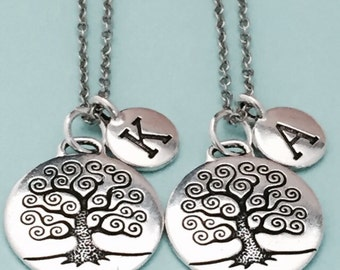 initial sister friends tree charm tree of life necklace bff necklace personalized necklace friendship jewelry Best friend necklace