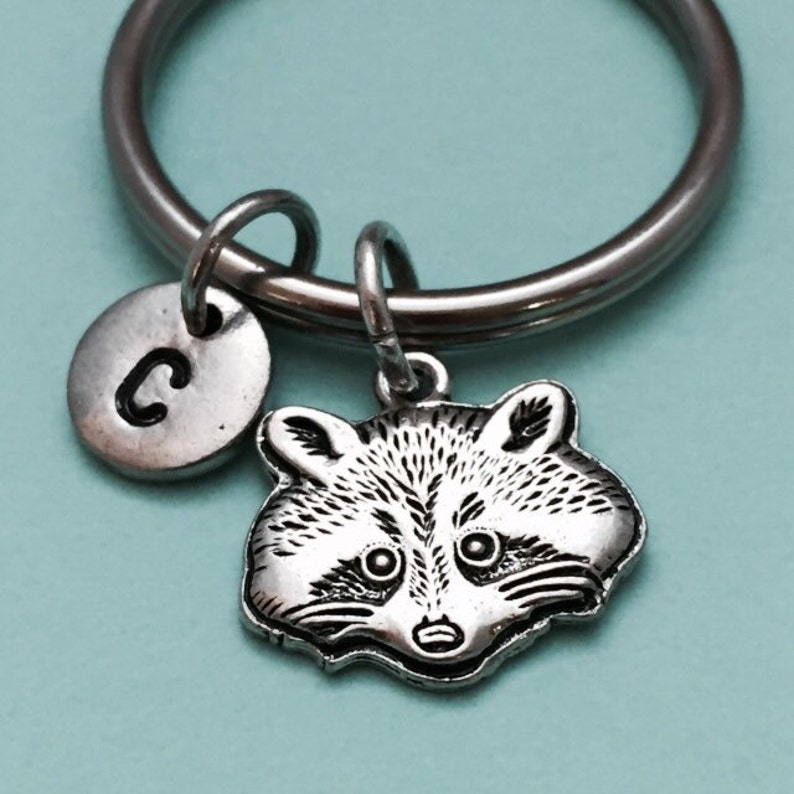 Raccoon keychain, raccoon charm, animal keychain, personalized keychain,  initial keychain, initial charm, customized, monogram
