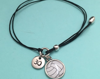 Volleyball cord bracelet, volleyball charm bracelet, adjustable bracelet, charm bracelet, personalized bracelet, initial bracelet, monogram