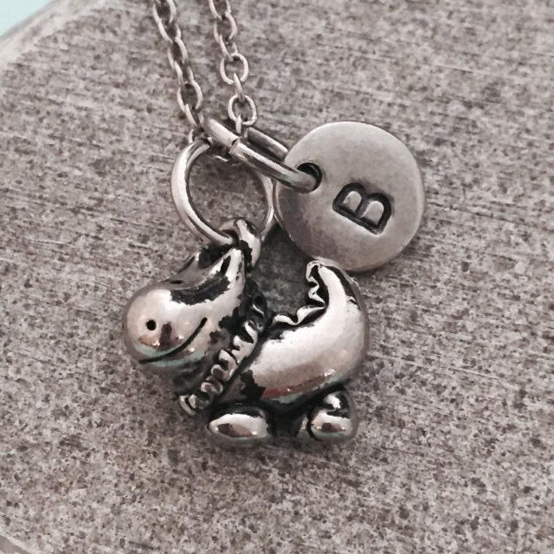 monogram personalized necklace dragon charm initial necklace animal necklace Dragon necklace
