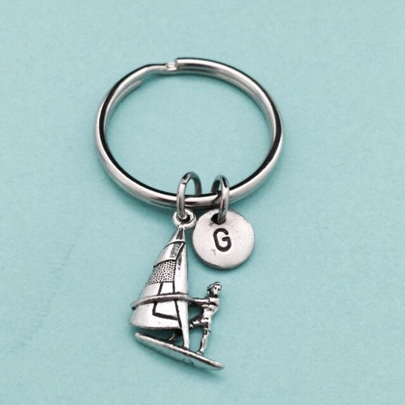 wind surfer charm nautical keychain customized keychain monogram initial keychain Wind surfer keychain personalized keychain
