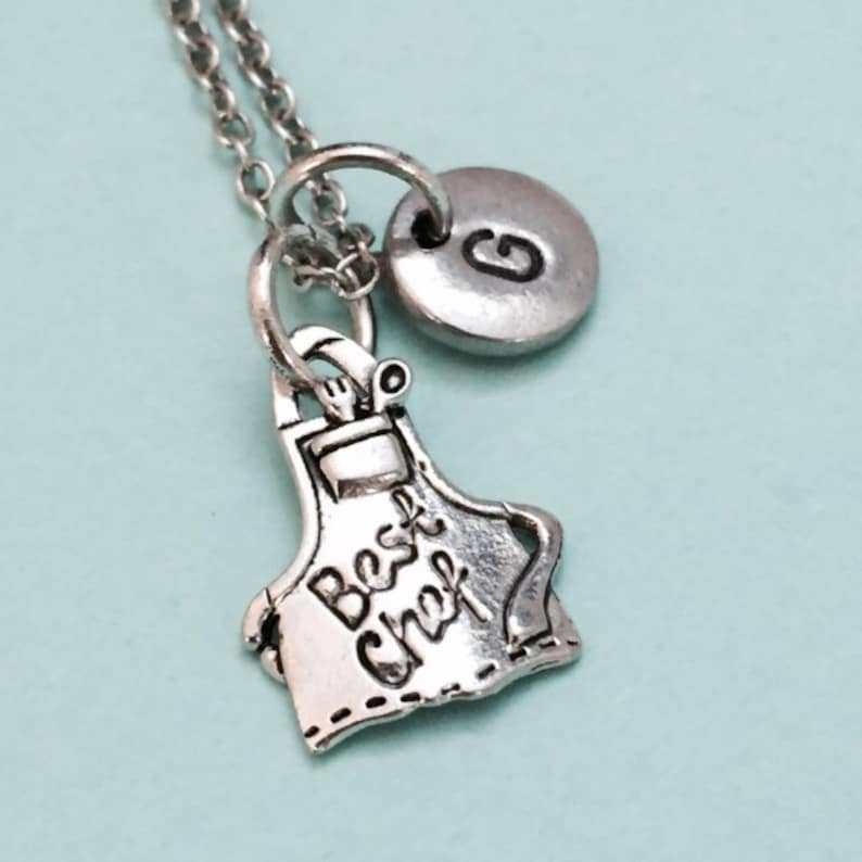 monogram initial necklace Best chef apron necklace initial charm personalized necklace cooking necklace best chef apron charm