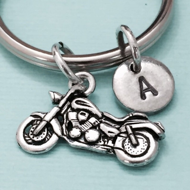 monogram customized Motorcycle keychain motorcycle charm initial keychain personalized keychain initial charm automobile keychain