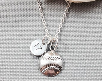 Personalized softball necklace, baseball necklace, sports necklace, number necklace, gift for athlete