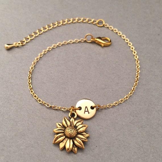 707e551b3e54 Pulsera girasol girasol encanto pulsera ajustable flor