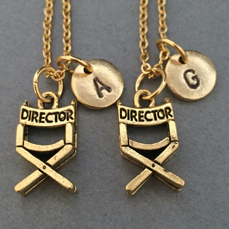 personalized directors chair necklace initial movies necklace bff necklace sister Best friend necklace friendship jewelry monogram