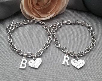 Best friend bracelet, friendship bracelet, initial bracelet, bff bracelet, toggle bracelet, charm bracelet, friend bracelet