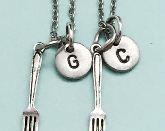 Best friend necklace, fork necklace, utensil necklace, bff necklace, sister, friendship jewelry, personalized necklace, initial, monogram