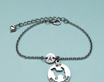My best friend dog charm bracelet, my best friend dog charm, adjustable bracelet, personalized bracelet, initial bracelet, monogram