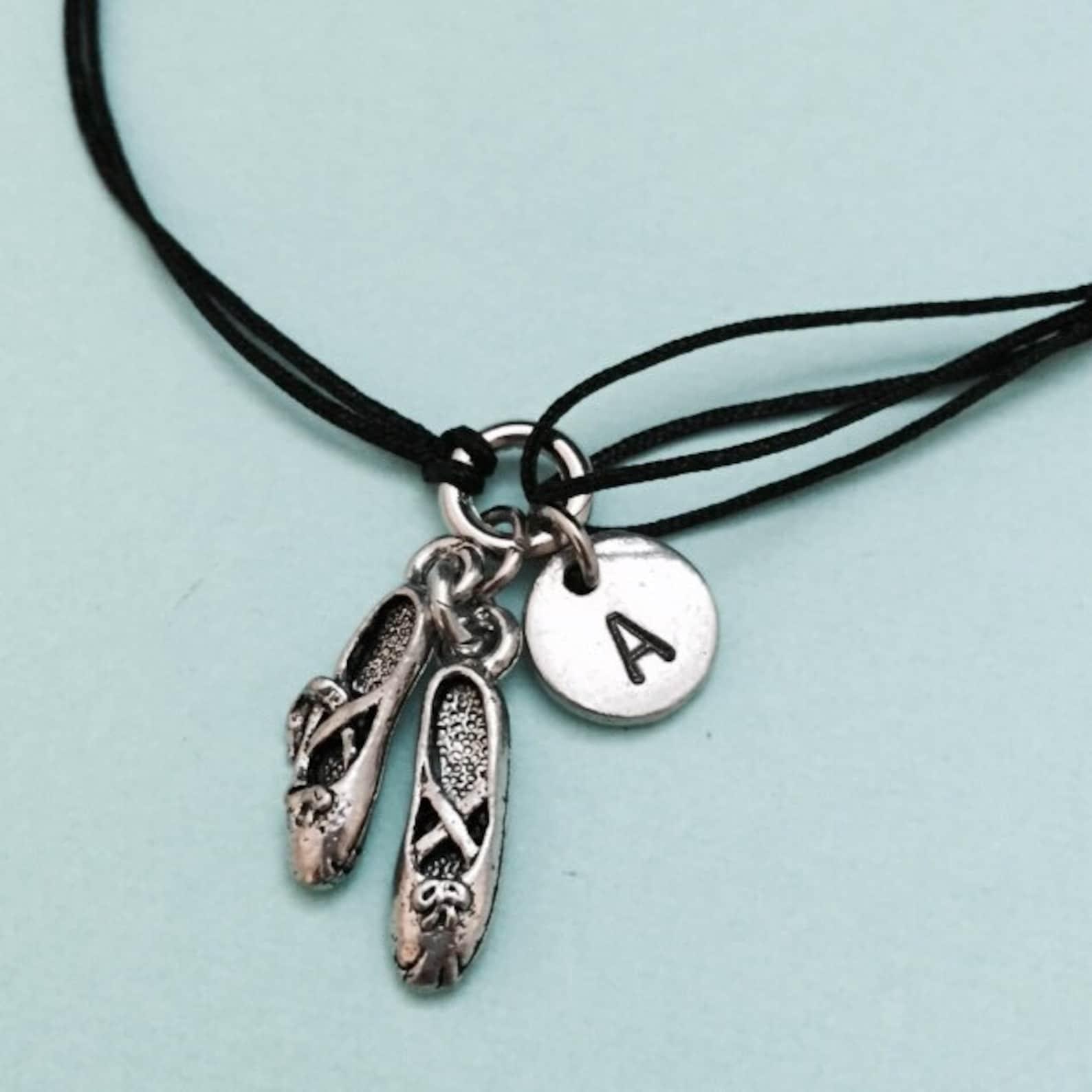 ballet shoes cord bracelet, ballet shoes charm bracelet, adjustable bracelet, charm bracelet, personalized bracelet, initial, mo