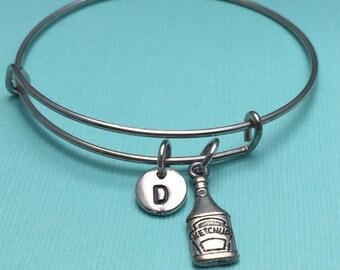 Ketchup bangle bracelet, ketchup charm bracelet, personalized bracelet, initial bracelet, friend bracelet