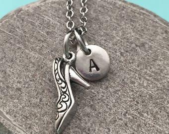 High heel necklace, high heel charm, shoe necklace, personalized necklace, initial necklace, initial charm, monogram