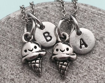 Best friend necklace, ice cream cone necklace, food necklace, bff necklace, sister, friendship jewelry, personalized, initial, monogram