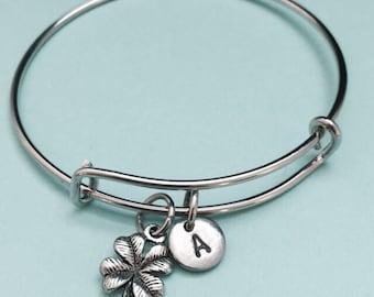 Four leaf clover bangle, four leaf clover charm bracelet, expandable bangle, charm bangle, personalized bracelet, intial bracelet, monogram