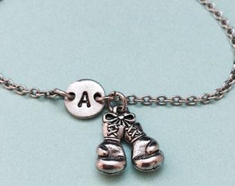 Boxing glove charm bracelet, boxing glove charm, adjustable bracelet, personalized bracelet, initial bracelet, monogram, sports bracelet