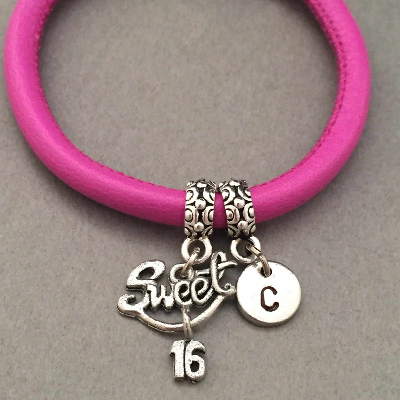 Sweet 16 Charm Bracelet: Sweet 16 Leather Bracelet Sweet 16 Charm Bracelet Leather