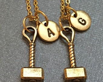 Best friend necklace, Hammer necklace, bff necklace, sister, friendship jewelry, personalized, initial, monogram