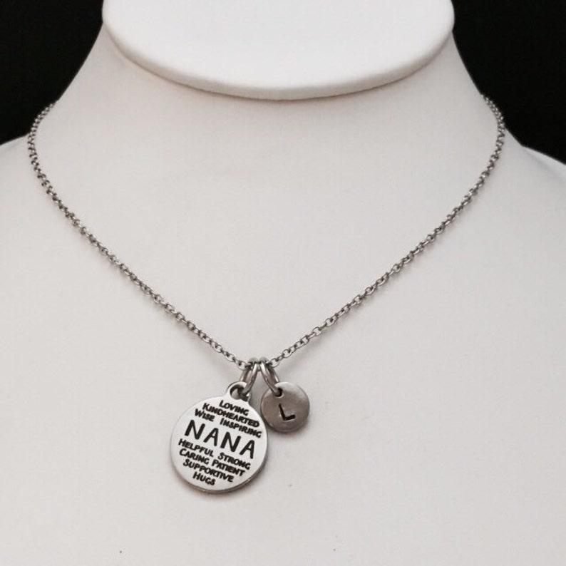personalized necklace initial charm Nana necklace family necklace monogram initial necklace nana charm