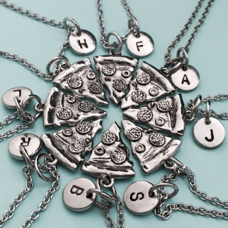 bff necklace monogram friendship jewelry food necklace initial Best friend necklace sister personalized necklace pizza necklace