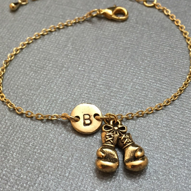 monogram adjustable bracelet sports boxing gloves charm Boxing gloves charm bracelet personalized bracelet initial bracelet