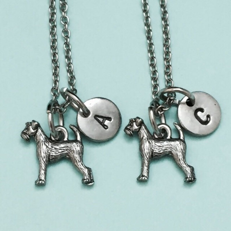 friendship jewelry airedale terrier charm animal jewelry Airedale terrier necklace bff necklace Best friend necklace initial necklace