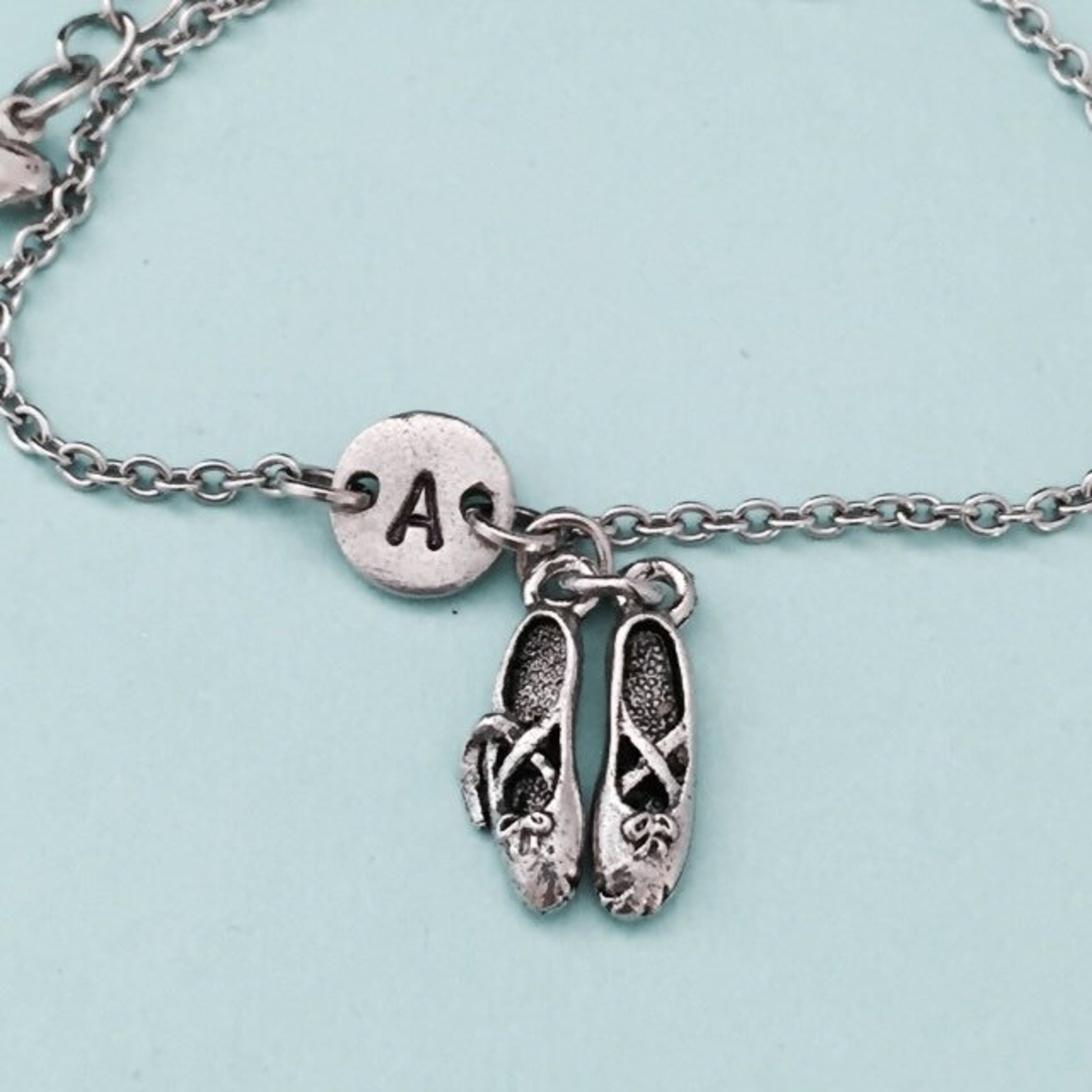 ballet shoes charm bracelet, ballet shoes charm, adjustable bracelet, ballet, personalized bracelet, initial bracelet, monogram