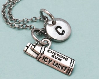 Chewing gum charm necklace, gum charm, teenager, friend, bubble gum, personalized necklace, initial necklace, monogram, initial charm