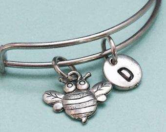 Bee bangle, bee bracelet, bee charm, personalized bracelet, expandable bangle, charm bangle, initial bracelet, monogram, bumblebee