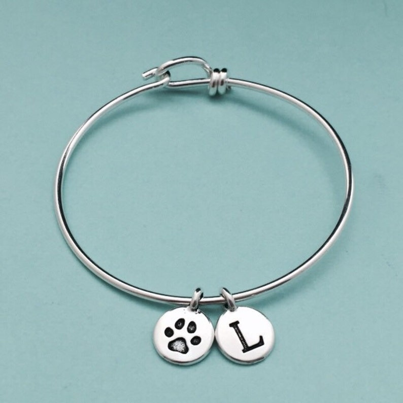 9daf190712ec9 Dog paw charm bangle, dog paw charm bracelet, paw print charm, silver  bangle, personalized bracelet, initial bracelet, monogram