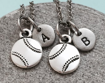 Best friend necklace, baseball necklace, sports necklace, bff necklace, sister, friendship jewelry, personalized, initial, monogram