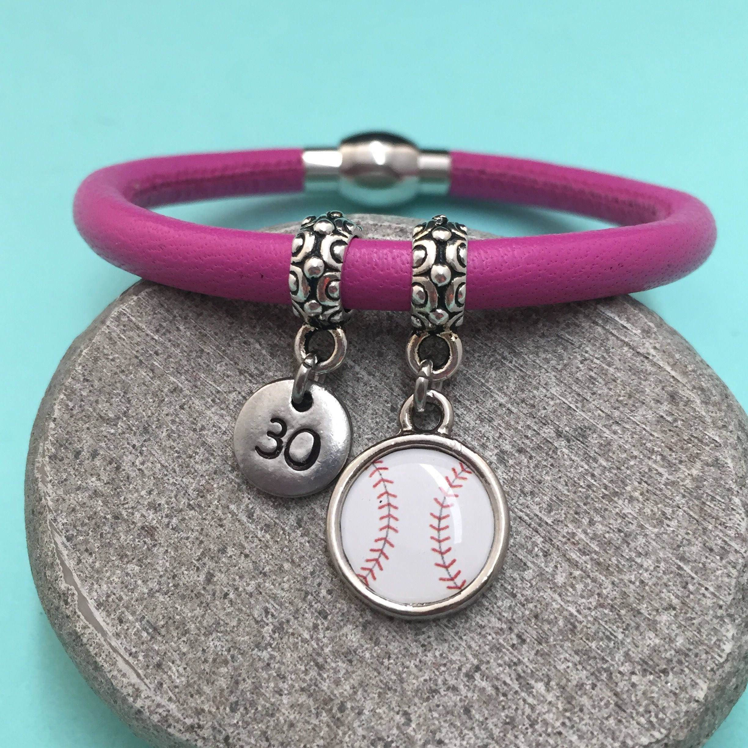 Baseball Leather Bracelet Baseball Charm Bracelet Leather
