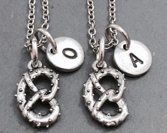 Best friend necklace, pretzel charm necklace, food necklace, friends necklace, sister necklace, bff necklace, initial charm, friendship