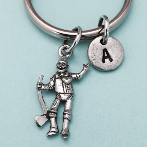 Tin man porte-clé, breloque homme d'étain, porte-clé personnalisé, initiale en porte-clé, initiale en charme, personnalisé, monogramme