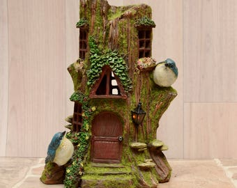 Solar Power Tree Stump Fairy House