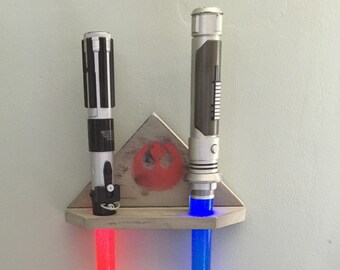 STARWARS LIGHT SABER holder, handmade toy display, grey and black battle worn look with red rebel symbol, holds two sabers