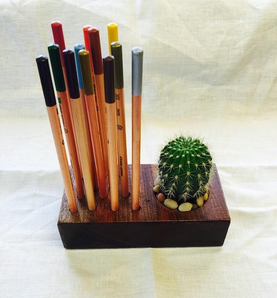 Wood Homeoffice Desk:  Homeoffice ARTIST Pencil Paint Brush Holder Desk Planter