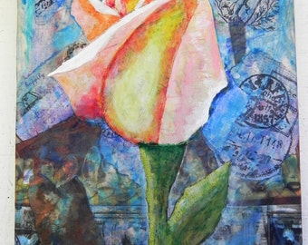 Peace Rose Wedding Collage - Personalized by Request! Torn Paper Collage Peace Rose, Peace Rose Painting, Rose Wedding Painting, OOAK Art