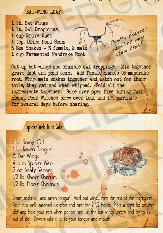 halloween witch recipe cards instant download digital
