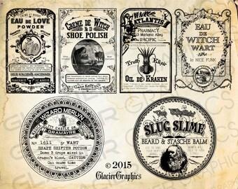 Vintage Poison Poison Tags Witch Potion Bottle Labels Halloween Bottle Labels Printable Collage Sheet Clip Art Scrapbooking