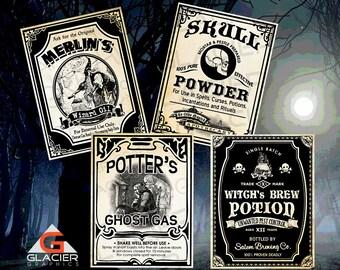 Vintage Poison Witch Tags Potion Bottle Halloween Poison Labels Printable Potion Clip Art Scrapbooking