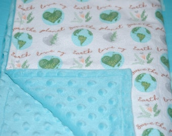 Planet Earth Baby Blanket, Love Our Earth, Save the Planet, Mother Earth Baby Blanket, Earth Baby Bedding, World Globe Blanket, Environment